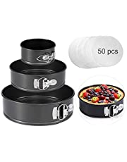 """OYSIR Springform Cake Pan Set, 4""""/7""""/9"""" Non-Stick Cheesecake Pan, Leakproof Round Cake Pan,Removable Bottom Quick Release Latch Moulds for Birthday Cake,3 PCS,Gift Free 50 Pcs Cake Paper"""