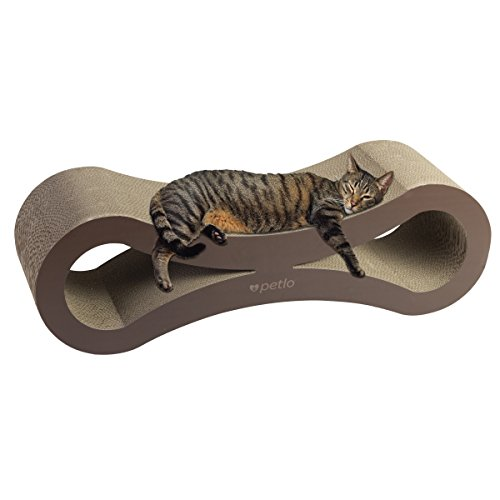 Petlo Jumbo Cat Scratching Cardboard Lounge - Durable Reversible Pet Scratch Pad and Sofa - By