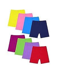 Moonker Girls Children Summer 8 Piece Dance Shorts Girls Bike Short Breathable and Safe 8 Color for 2-8 Years Old