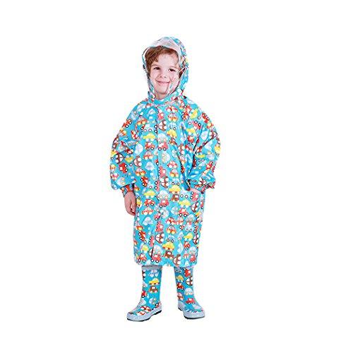 (Kids Peony Print Hooded Waterproof Raincoat Rain Coats/Jacket for Girls for Boy Blue)