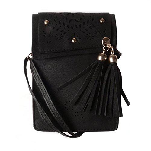 Women Girl's Faux Leather Crossbody Bag Wallet Purse Cellphone Pouch w/ Shoulder Strap for iPhone 7 Plus / LG G6 / LG V20 / LG Stylo 3 / LG Stylus 3 / BLU R1 Plus (Black)