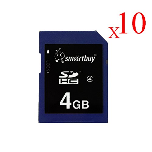 Smart Buy SDHC Class 4 Flash Memory Card SD HC Secure Digital C4 Fast Speed for Camera (4GB (10-Pack)) by Smart Buy