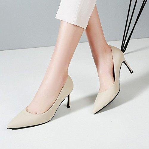 De Profond En Bureau Dames Talons Mariage Peu Tempérament Cuir Chaussures Femelle Noir De Chaussures Travail Femmes White Stiletto De Hauts 8tOnatq