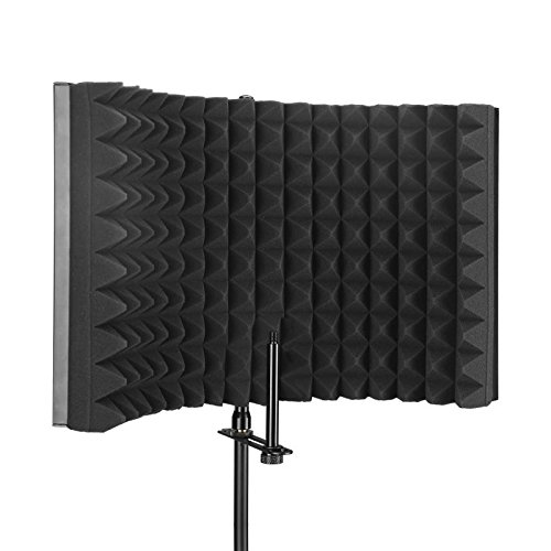Aokeo Premium Microphone Isolation Shield, Foldable Adjustable Studio Recording Microphone Isolator Panel, Constructed with Industrial Quality Aluminum, High-Density Absorbing Foam Cotton (AO-302) by aokeo