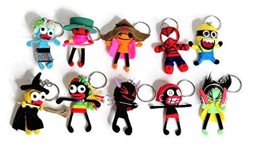 String Doll Voodoo Keychains, Horror Decors, Hanging Ornaments, Halloween Ornaments, Holloween Decorations, Approx 3 Inches Tall, Set of 10 PCS. -