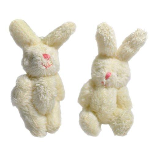 HINMAY 2pcs Mini Rabbit Plush Toy Cute Soft Pendant Plush Bunny Toy Doll DIY Ornaments Gifts(White)