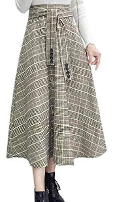 ONTBYB Women's Retro High Waist Long Woolen Design Western Plaid Swing Skirt