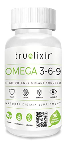 (TRUELIXIR Vegan Omega 3-6-9 (ALA+LA+OA), (Flaxseed+Safflower+Sunflower Oil Blend), All Natural, 90 Veggie CAPS (HPMC), Non-GMO, ALLERGEN Free, Gluten Free, Reflux Free, NO Carriers, NO FILLERS)