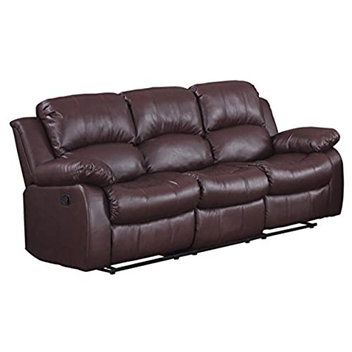 leather couches. Homelegance Double Reclining Sofa, Brown Bonded Leather Couches