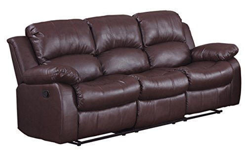 Homelegance Double Reclining Sofa, Brown Bonded Leather - Chocolate Leather Sectional Sofa