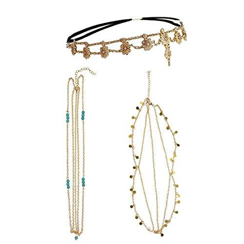 DRESHOW-Hair-Chain-Bohemian-Hair-Accessories-Diamond-Pearl-Tassel-Hair-Band-Alice-Band-Gold-Leaf-Chain-Headband-Unique-Turquoise-Chain-Headband-3-Pack