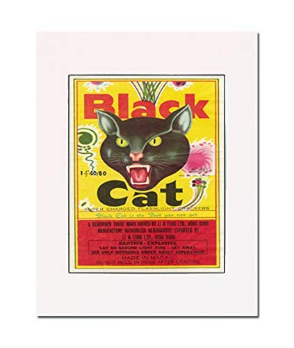 Black Cat Firecrackers Rescue Retro Label, Art Print. You Are Here. Gallery Quality. Matted at 11 inches x 14 inches and Ready to Frame.