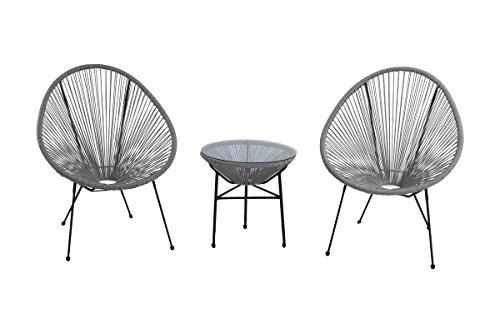 Century Modern Outdoor 3 Piece Resort Grade Rattan Conversation Set, Black