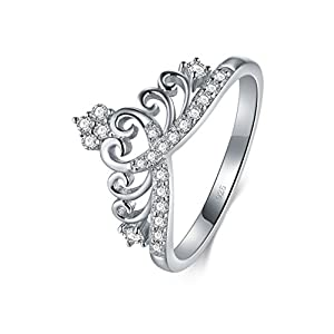 BORUO 925 Sterling Silver Cubic Zirconia Princess Crown Tiara Wedding Cz Band Eternity Ring 4-12