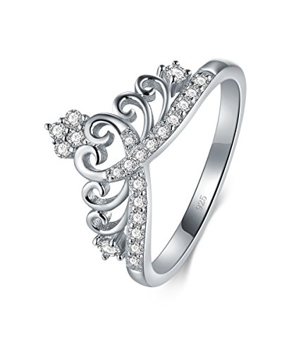 BORUO 925 Sterling Silver Cubic Zirconia Princess Crown Tiara Wedding Cz Band Eternity Ring Size ()