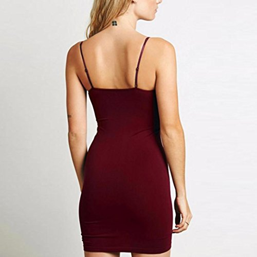 FNKDOR Mujer Sólido sin mangas cami bodycon mini vestido Rojo