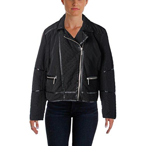 Leather Trim Motorcycle Jacket - 5