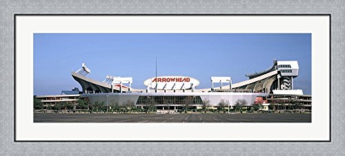 Football stadium, Arrowhead Stadium, Kansas City, Missouri by Panoramic Images Framed Art Print Wall Picture, Flat Silver Frame, 44 x 20 inches Arrowhead Stadium Framed Photo