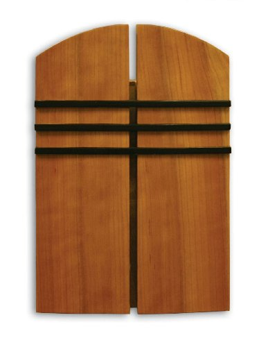 Heath Zenith 85 Wired Door Chime with Oak Stained Solid Birch Cover and Black Accent Lines ()