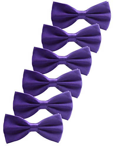 Udres 6 Pack Solid Bow Tie Satin Pre-tied Bowtie for Wedding Party (One Size, Purlpe) - Purple Satin Bow