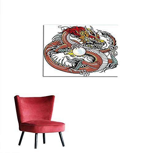 kungfu Decoration Wallpaper Dragon,Traditional Chinese Creature Holding A Large Pearl Zodiac Signs Folk Tattoo Graphic,Multicolor Art Poster W27.5 x L19.7 -