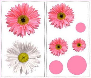 Flower Power - Peel and Stick - 25 Wall Stickers Decals