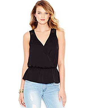 Guess Women's Lace-Inset Surplice Top
