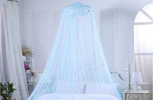 Loisleila Round Lace Curtain Dome Bed Canopy Netting Princess Mosquito Net 120-Inch with Light (Blue)