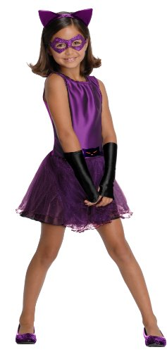 Cat Girl Fancy Dress Costume (DC Super Villain Collection Catwoman Girl's Costume with Tutu Dress, Medium)