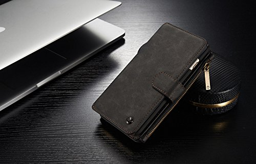 iPhone XS Max Case, YiMiky Premium PU Leather Folio Case Magnetic Detachable Smart Zipper Wallet Protective Case Cover with Card Holder and Cash Pocket Protector for 6.5 inch iPhone XS Max - Black