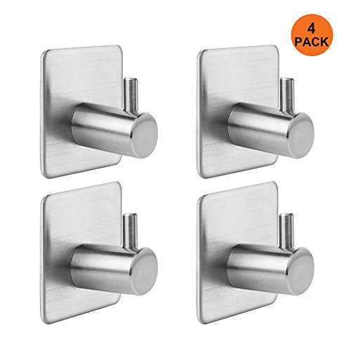 KANGORA Bathroom Towel Hook Bath, Shower & Kitchen | Strong Adhesive Backing for Wall or Door | Contemporary, Stainless Steel Design | Easy Installation (4 - Pack) by KANGORA