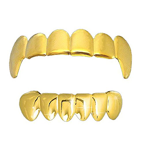 Gold-Tone Hip Hop Bling Plain Vampire Fangs Top and Bottom Row Grillz -