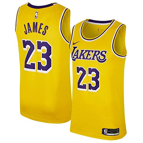 86a3c9cf17587 NIKE Men's Los Angeles Lakers Lebron James 2018-19 Icon Edition Swingman  Jersey X-Large Gold