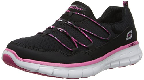 Skechers Sport Womens Good Stuff Fashion Sneaker Black Hot Pink
