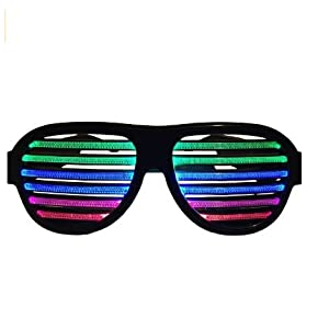 LED musical shades Sound & Music Active LED Party Glasses with USB Charger. Best for Cloubbing, EDM, Rave, Disco, Dubstep Party
