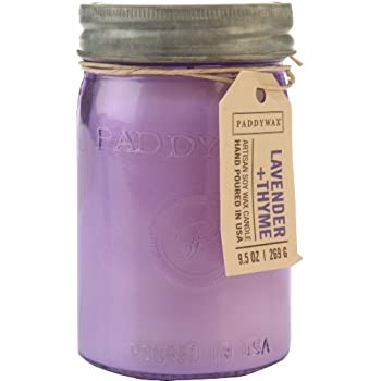 Paddywax Relish Collection Scented Soy Wax Jar Candle, 9.5-Ounce, Lavender & Thyme