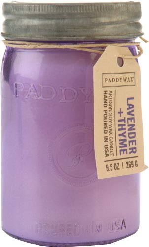 - Paddywax Candles Relish Collection Soy Wax Blend Candle in Glass Mason Jar, Medium- 9.5 Ounce, Lavender + Thyme