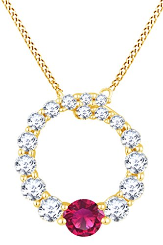 (AFFY Simulated Ruby & White Natural Diamond Circle Eternity Pendant in 14k Solid Yellow Gold (0.44 Ct))