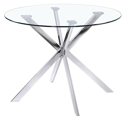 Uptown Club Franz Collection State Of The Art Designed Round Glass Top Dining Table 41 3 L X 41 3 W X 29 5 H