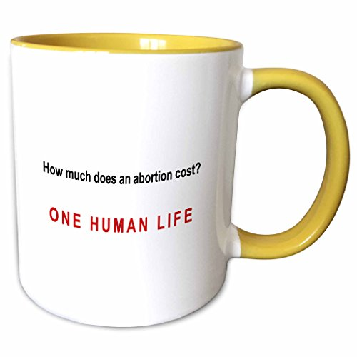 3dRose Mark Andrews ZeGear Spiritual - How Much Does Abortion Cost - 11oz Two-Tone Yellow Mug (mug_60812_8)