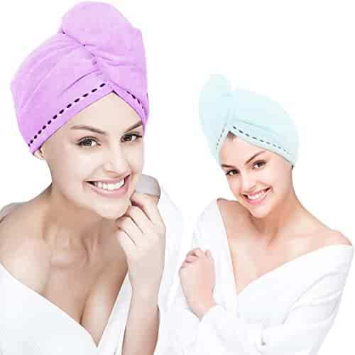 Microfiber Hair Towel Drying Wrap [2 Pack] Hair Turban Head Wrap with Button, Quick Dry, Super Absorbent for Long & Curly Hair, Anti-Frizz