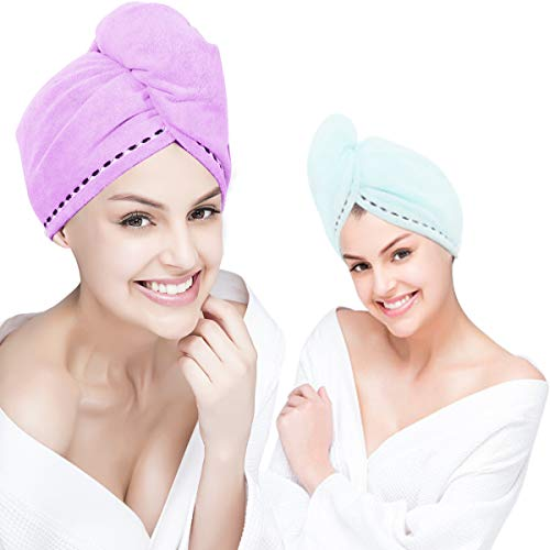 Orthland Microfiber Hair Towel Drying Wraps for Women [2 Pack] Bath Shower Head Turban Towels with Button, Quick Dry Magic Hats, Super Absorbent for Long & Curly Hair, Anti-Frizz