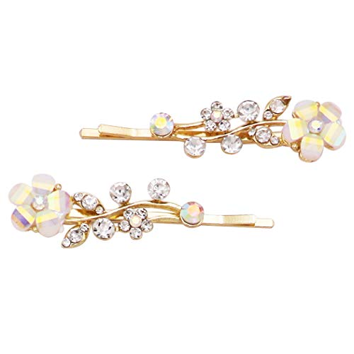 (Rosemarie Collections Women's Hair Clip Aurore Borreale Crystal Flower Rhinestone Bobby Pins (Gold)