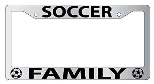 Soccer Family Chrome Metal License Plate Frame