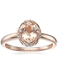 10k Pink Gold Morganite and Created White Sapphire Oval Ring, Size 7