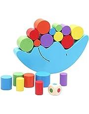لعبة تعليمية للاطفال توازن كتل بناء على قمر خشبي