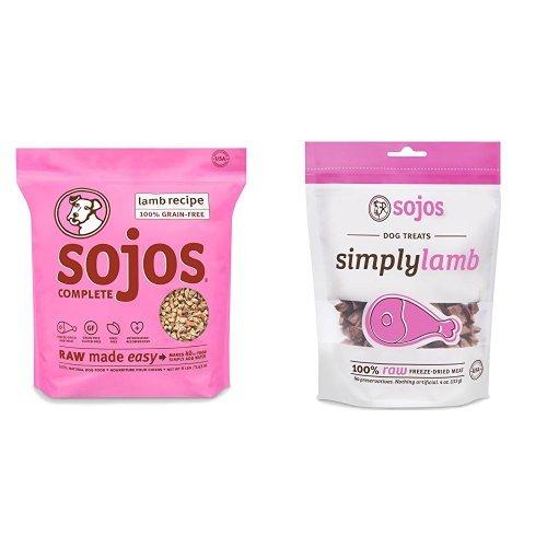 Sojos Selects: Sojos Complete Lamb Freeze-Dried Raw Dog Food Mix & Simply Lamb Treats Bundle