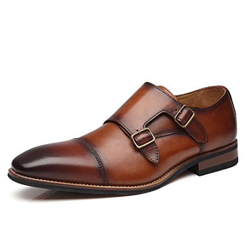 La Milano Mens Double Monk Strap Slip on Loafer Cap Toe Leather Oxford Formal Business Casual Comfortable Dress Shoes for - Leather Dress Shoes Loafers