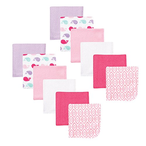 Luvable Friends 12 Piece Washcloth, Girl Whale