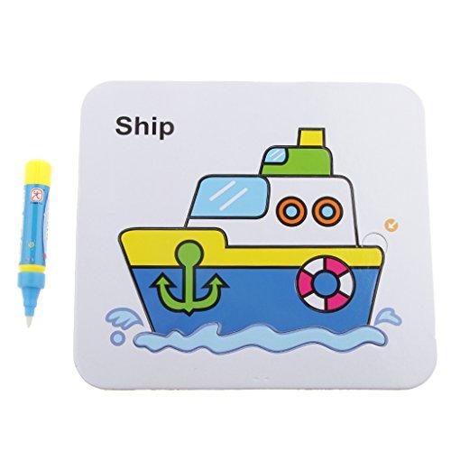 【ノーブランド品】段ボール 書く パズル おもしろいおもちゃ ペン付き 子供 色&形の認識 贈り物 全6パタン - 船の商品画像